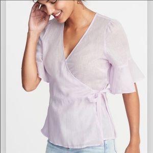 Old Navy lavender linen wrap top